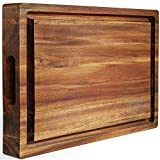 FANICHI Extra Large & Thick Acacia Wood Cutting Board: 16 x 12 x 1.5 Inch Reversible Multipurpose with Juice Groove, Cracker Holder & Inner Handles.