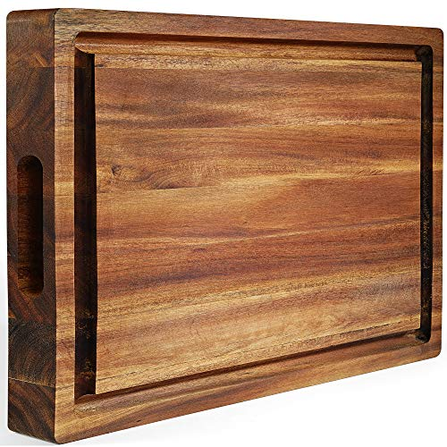 FANICHI Extra Large Thick Acacia Wood Cutting Board 16 x 12 x 15 Inch Reversible Multipurpose with Juice Groove Cracker Holder Inner Handles