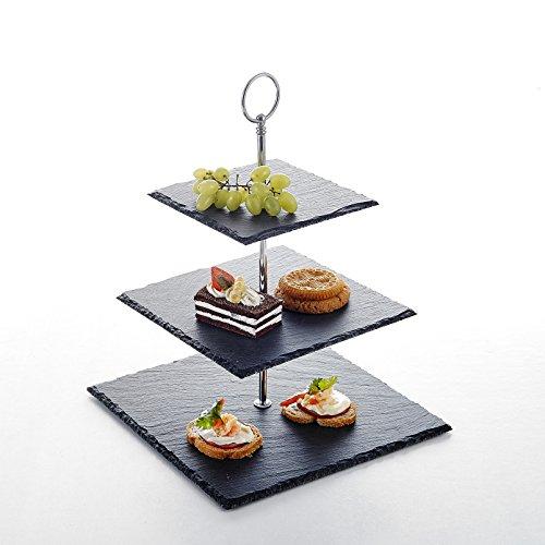 MALACASA, Serie Sweet.Time, Etagere Schieferplatte 3-stöckig Käseplatte Schiefer Cupcake Dessert Ständer Kuchenständer Servierständer Eckig