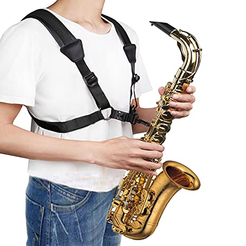 Xinlinke Saxophone Harness Sax Strap No Stress on Neck Soft Shoulder Padded for Alto Tenor Baritone Clarinet,Large Size