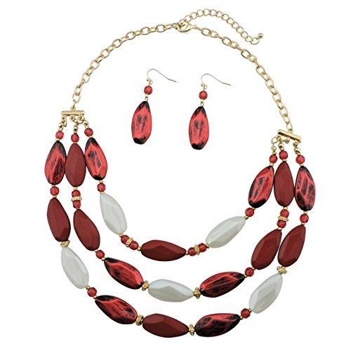 Bocar 3 strati perline dichiarazione collana orecchino per le donne gioielli Set (NK-10077) e nichel, colore: vino, cod. NK-10077
