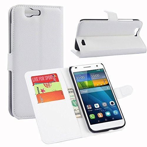 Tasche für Huawei Ascend G7 (5.5zoll) Hülle, Ycloud PU Ledertasche Flip Cover Wallet Hülle Handyhülle mit Stand Function Credit Card Slots Bookstyle Purse Design weiß