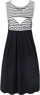 Liu & Qu Women's Sleeveless Nursing Dress Stripe Maternity Dress Breastfeeding Clothes