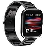 Compatible with Virmee VT3 Bands, YOUkei Stainless Steel Metal Replacement Strap Bracelet Compatible with Virmee VT3 Smartwatch (Black)