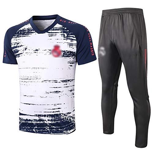 BVNGH Traje de Entrenamiento de Jersey de fútbol de Madrid Real, 2021 Nueva Temporada de Manga Corta de fútbol de Moda Camisetas de fútbol, Camiseta Transpirable y cómod White-M