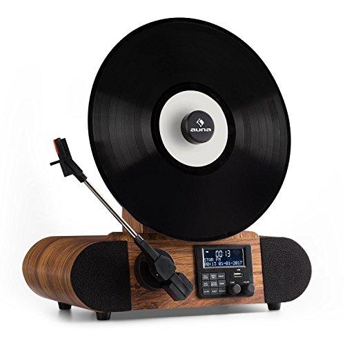 Auna Verticalo S Tocadiscos vintage diseño vertical (Altavoces integrados, reproductor vinilo con MP3 y puerto USB, salida RCA, acabado de madera, estilo retro)