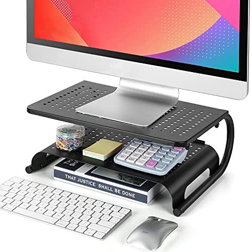 LORYERGO Monitor Stand Riser, 2-Tier Desk Organizer Stand with Metal...