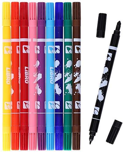 LiBRO Kinder Buntstifte für Schule Hobby Bunt Filzstifte Fasermaler 10 Stück