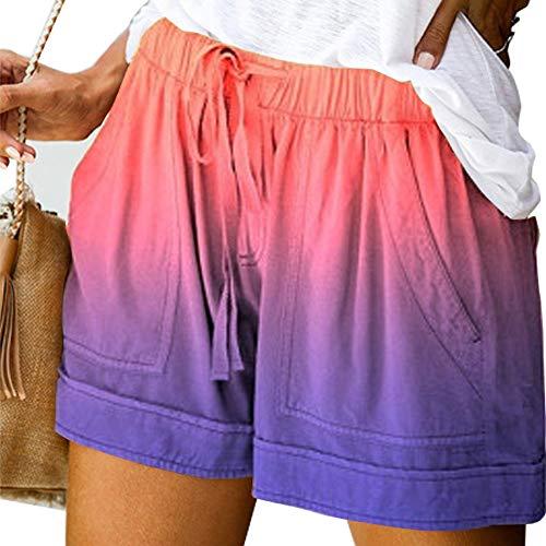 Niikee Tie Dye Print Sommer Damen Shorts Strand Mittlere Taille Gerade Tube Shorts Mode Frauen Lässig Plus Size Kurze Hose 5XL (F,5XL)
