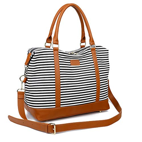 Ulgoo Travel Tote Bag Carry On Shoulder Bag Overnight Duffel in Trolley Handle (Black Striped)