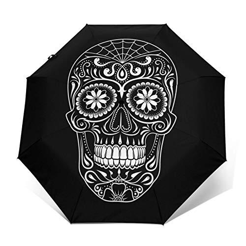 Regenschirm Taschenschirm Kompakter Falt-Regenschirm, Winddichter, Auf-Zu-Automatik, Verstärktes Dach, Ergonomischer Griff, Schirm-Tasche, Schablone Zuckerschädel