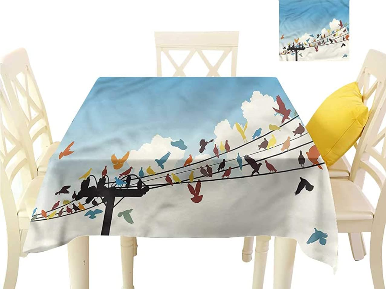 Davishouse Fabric Dust-Proof Table Cover Animals Bird Silhouettes Indoor Outdoor Camping Picnic W60 x L60