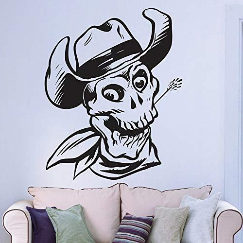 Etiqueta engomada de la pared del hueso del cráneo sombrero vaquero sonrisa estilo fresco decoración del hogar hombre cueva vinilo