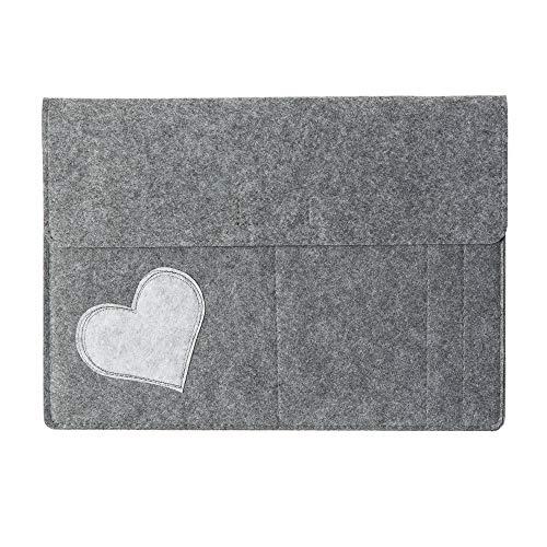 Laptop Tasche/Hülle für Tablets 12,9 Zoll 'Herz' aus Filz, grau (Farbe wählbar) | Huelle für MacBook 13 Zoll, Tasche für iPad Pro 12,9 Zoll, Notizblocketui, Filztasche
