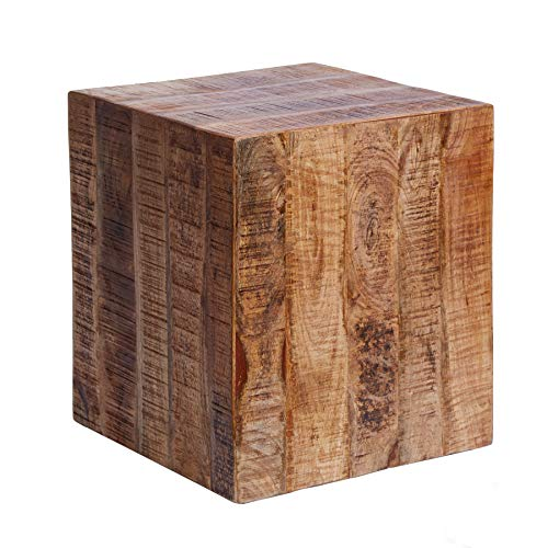 Invicta Interior Massiver Design Hocker Factory 40cm Mangoholz auf Rollen Beistelltisch Holzhocker