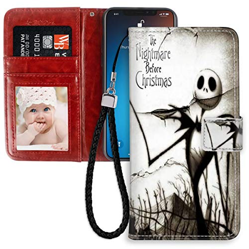 DISNEY COLLECTION Wallet Case for iPhone 11 Case The Nightmare Before Christmas Halloween with Kickstand Card Holder and Wrist Strap Folio Flip Wallet Case for Girls