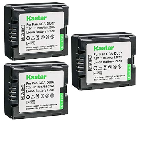 Kastar 3-Pack Battery Replacement for Panasonic VDR-D100, VDR-D105, VDR-D150, VDR-D158, VDR-D160, Panasonic CGADU06, CGRDU06, CGADU07, CGRDU07, CGADU12, CGRDU12, CGADU14, CGRDU14, CGADU21, CGRDU21
