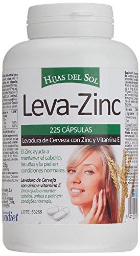 LEVA ZINC Complemento alimenticio de zinc, levadura de cerveza y vitamina E para ayudar a prevenir la caída del cabello también bueno para cabello piel y uñas Suplemento de vitaminas para fortalecer el pelo 225 cápsulas vegetales HIJAS DEL SOL vegano