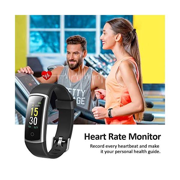 Lintelek Pulsera Actividad, Reloj Inteligente con Medidor de Ritmo Cardíaco Presión Arterial, Reloj Deportivo Compatible… 3