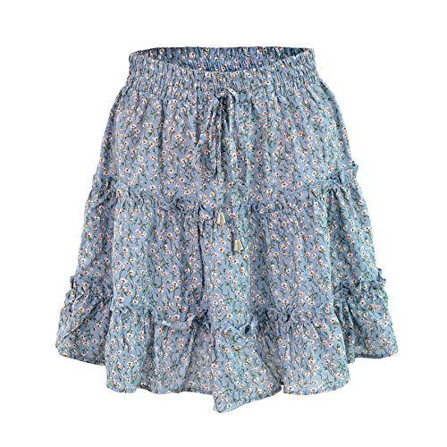 Falda De Cintura Alta Informal De Verano para Mujer Falda Floral con Volantes Falda Acampanada De Playa con Collage