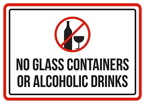 PeteGray geen glazen containers of alcoholische dranken zwembad Spa aluminium metalen borden Vintage zakelijke commerciële veiligheid waarschuwing metalen tin borden nieuwigheid outdoor