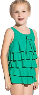 Comfortable Girls Swimwear Cute Toddler Skirt Princess Swimsuit Girl One-Piece Swimsuit Smooth (Color : Green, Size : 12)