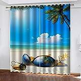 TTBBBB Cortinas dormitorio 2 piezas Vista al mar de la playa del...