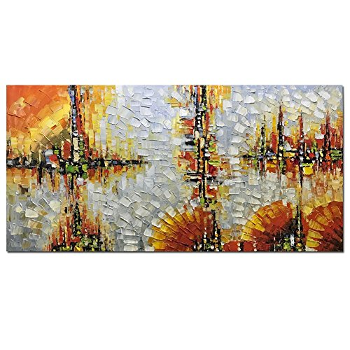 Yotree Paintings, 24x48 inch Paintings Skyline Oil Hand Painting Painting 3D Hand-Painted On Canvas Abstract Artwork Art Wood Inside Framed Hanging Wall Decoration Abstract Painting