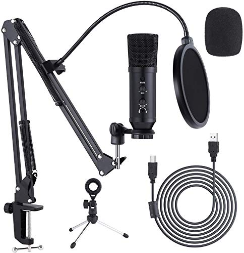 Ohuhu USB Microphone, Condenser Laptop pc Gaming Mic Podcast Microphone Kit with Scissor Boom Arm Stand, Tripod Stand & Pop Filter for Streaming Podcast, YouTuber, Gaming