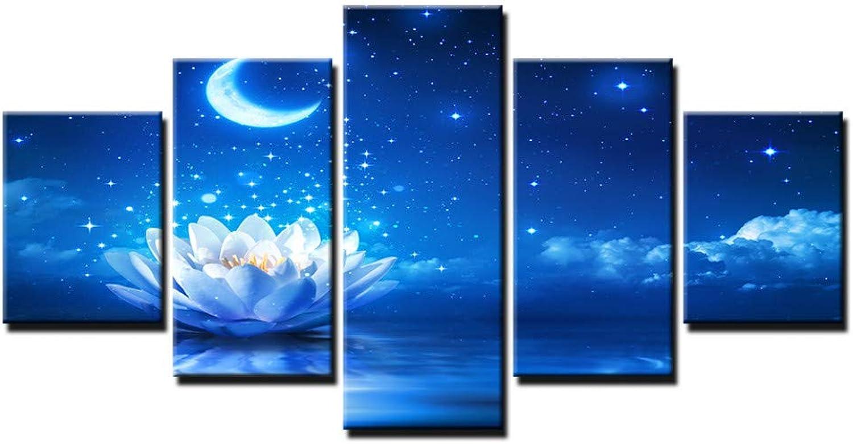 IBIZHI 5 Unidades Foto Lienzo HD Imprime Poster Arte de la Parojo de la Sala 5 Piezas blancoo Loto Pintura Decoración para el Hogar Luz de la Luna Lirios de Agua Flores Fotos