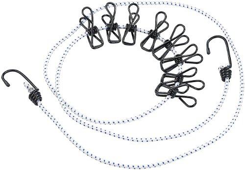 PEARL Reisewäscheleine: Flexible Wäscheleine mit 8 beschichteten Klammern, 170-210cm (Wäscheleine für unterwegs)