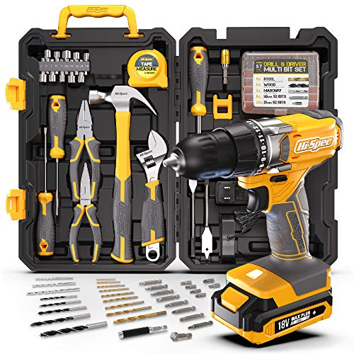 Hi-Spec 80 Piece 18V Drill Driver & Home Garage Tool Kit Set. Complete DIY Repair Hand Tools with a Cordless Electric Power Drill & Screwdriver. All in a Tough Carry Tool Box