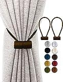 TECVINCI Alzapaños de cortina con imán más grande mejorado, 2 unidades de 40,6 cm de retención magnética decorativa para el tratamiento de ventana de oscurecimiento/transparente café oscuro
