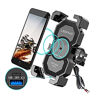 Leepiya 2 in 1 Motorcycle Cell phone holder with 15W Wireless Charger/USB Quick Charger 3.0 Mount on 2-3CM Handlebar or Rear-View Mirror Fast Charging for 4-7 inch Cellphones by leepiya