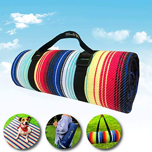 Waterproof Picnic Blanket – Portable with Carry Strap | Use as Beach Mat or Family Size Beach Towel for Sand Cover | Outdoor Play Mat and Indoor Couch Throw for Warmth and Prevent Pet and Kid Stains