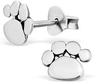925 Sterling Silver Paw Print Stud Earrings 21170