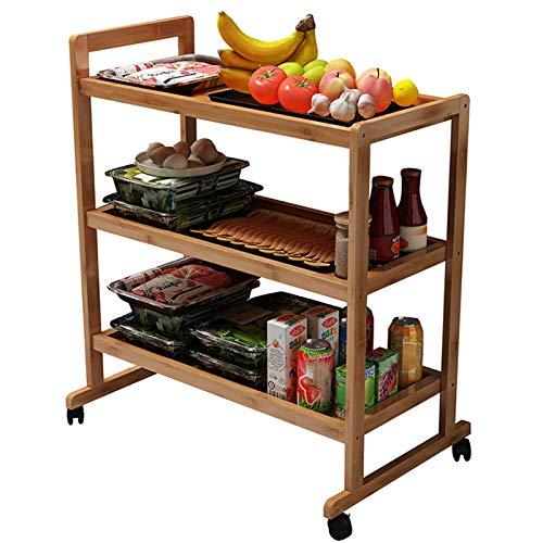 Bambú 3 Niveles Carro de Cocina, Estante de Almacenamiento Rodante con Ruedas, Carro Utilitario para Salón/Restaurante/Oficina, Fácil de Montar (Size : 60×42×79cm)