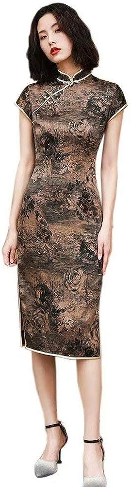 HangErFeng Qipao Dresses Silk Color Stripe Printed Slim Fashion Cheongsams Fragrant Cloud Yarn