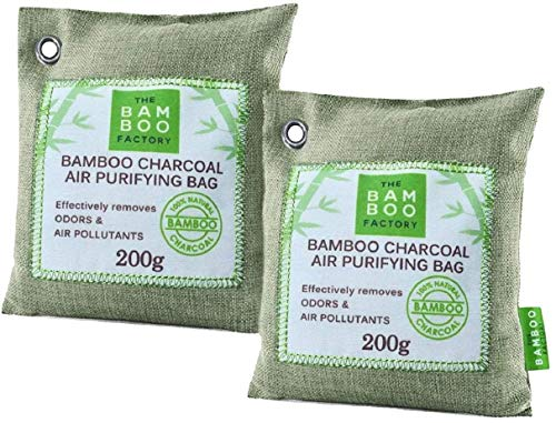 Bamboo Factory, Activated Bamboo Charcoal Air Purifying Bag - All-Natural Car Air Purifier and Freshener - Pet Odour Eliminator, 200g (Pack of 2)