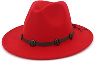 Yumi Brim Woolen Felt Jazz Panama Hat Western Cowboy Cowgirl Hats with Leather Decorated Trilby Fedora for Men & Women (Color : Red, Size : 56-58)