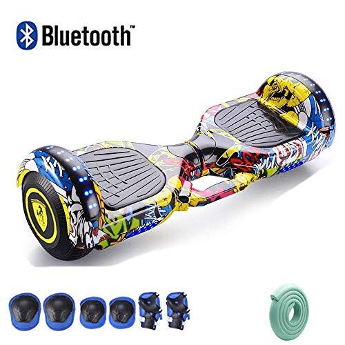 Nfudishpu 7 & ldquo; Eingebauter Bluetooth-Lautsprecher, 350-W-Doppelmotor, Skateboard-Selbstausgleichsroller mit Aluminiumgehäuse, Sicherheits-LED-Leuchten, Schutzwerkzeuge für Erwachsene Kinder