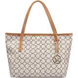 Micom Casual Signature Printing Pu Leather Tote Shoulder Handbag with Metal Decoration for Women (G Signature)