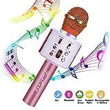 Microfono Karaoke Bluetooth Wireless, FISHOAKY 4.1 Portatile Microfono Karaoke Bambini con Altoparlante, KTV Karaoke Player per Cantare, Funzione Eco, Compatibile con Android, PC or Smartphone