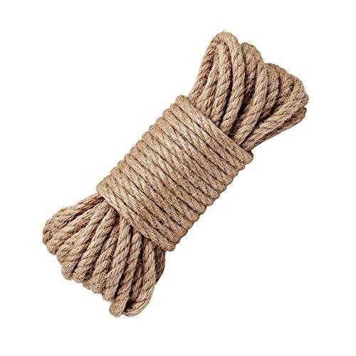 YOCZOX Cuerda 100% Natural de cáñamo, 8 mm de Grosor, SOGA Fuerte de Yute, Cuerda para Camping, Jardines, Barcos, Juegos de Guerra, Mascotas, Cuerda de Escalada (50ft)