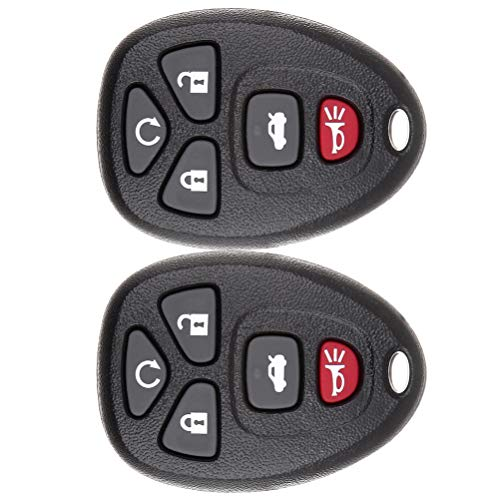 ANGLEWIDE Car Key Fob Keyless Entry Remote SHELL CASE Replacement for 04-12 Buick Allure LaCrosse Chevrolet Malibu Cobalt Saturn Aura Sky (FCC 22733524A) 5 Buttons Black 2pad