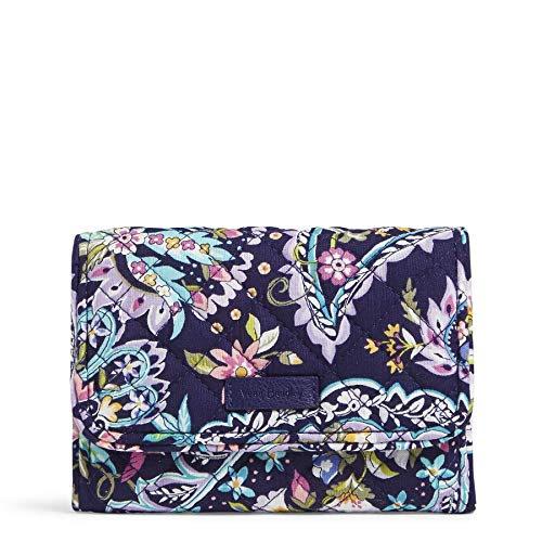 Vera Bradley Women's Cotton Riley Compact Wallet with RFID Protection, French Paisley, One Size