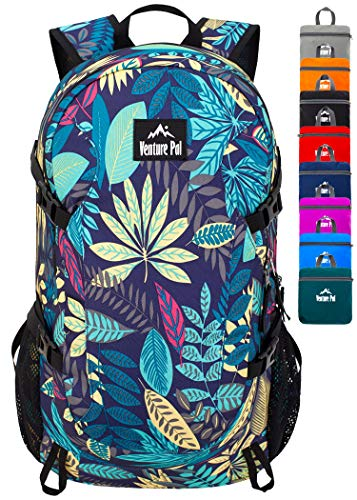 Venture Pal 40L Lightweight Packable Travel Hiking Backpack Daypack, A2 Purple Leaf, One Size