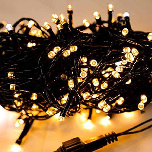 ARFT 65.5ft 200 LED Christmas String Lights, Black Wire Warm White Bulbs Fairy String Lights Starry Lights Waterproof Firefly Lights for Garden Decoration