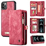 Zttopo Wallet case Compatible with iPhone 12 Pro Max, 2 in 1 Leather Zipper Detachable Magnetic 11 Card Slots Card Slots Money Pocket Cover with Screen Protector Case Wallet 6.7 Inch(Red)