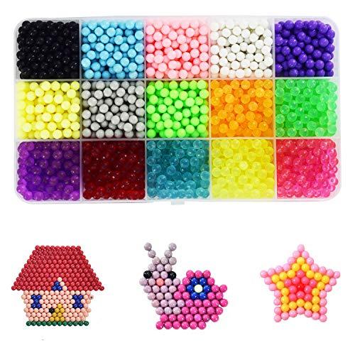 ZKSM Perline a Fusione(2400 Perline 15 Colori) per Il Tempo Libero Creativo, Set Gioco Creativo Natalizio Fai da Te per Bambini